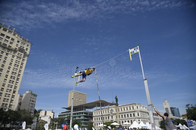 High jump competition. In downtown Rio de Janeiro stock images