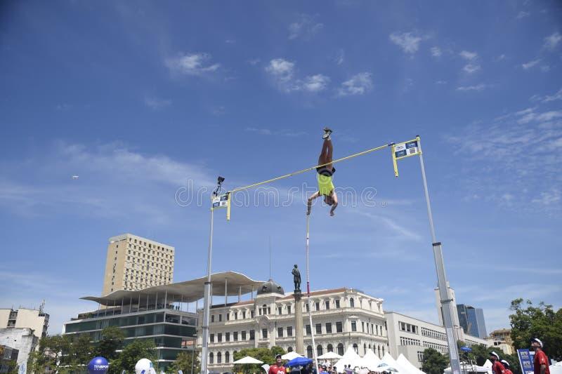 High jump. Championship in downtown Rio de Janeiro stock photos