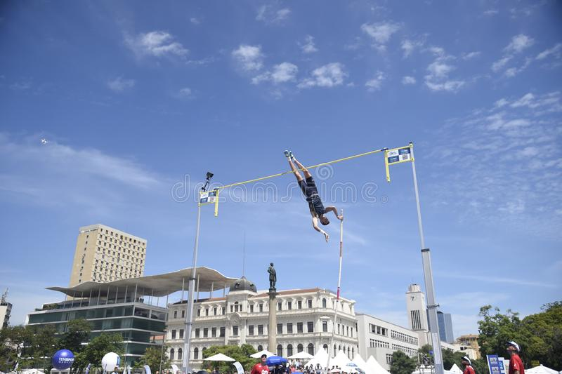 High jump. Championship in downtown Rio de Janeiro royalty free stock image