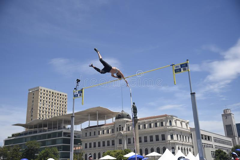 High jump. Championship in downtown Rio de Janeiro royalty free stock photography