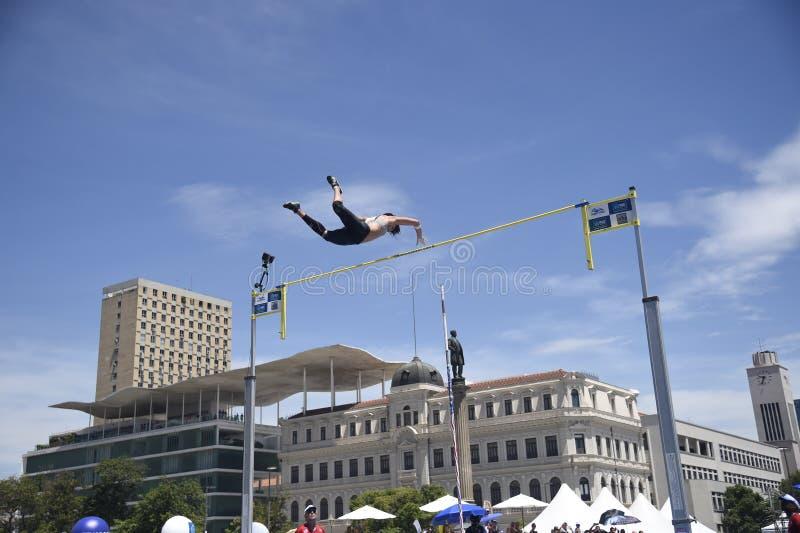 High jump. Championship in downtown Rio de Janeiro royalty free stock photos