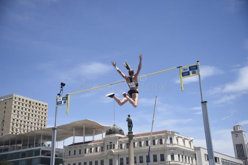 High jump. Championship in downtown Rio de Janeiro stock image