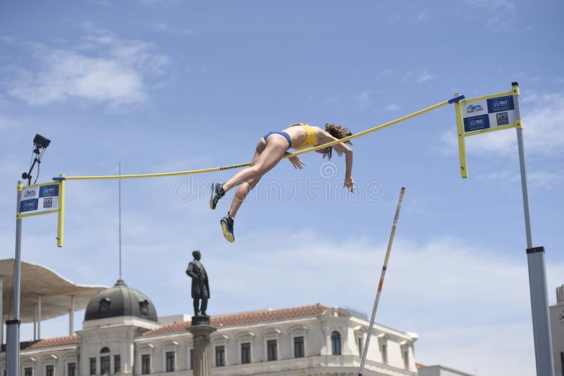 High jump. Championship in downtown Rio de Janeiro stock images