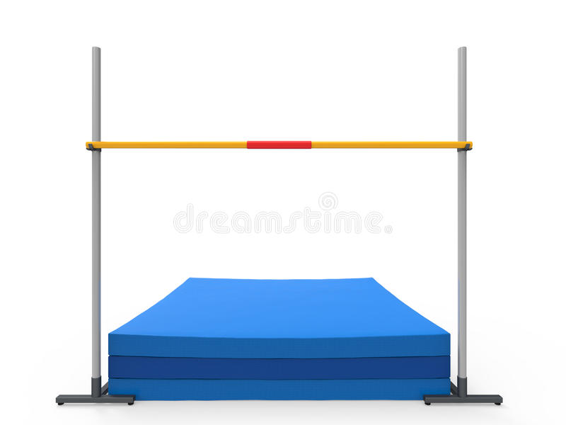 High Jump Landing Mat. Isolated on white background. 3D render stock illustration