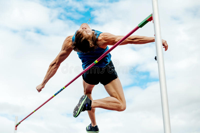 High jump male athlete. Chelyabinsk, Russia - July 7, 2017: high jump male athlete during Ural Championship in athletics royalty free stock photography