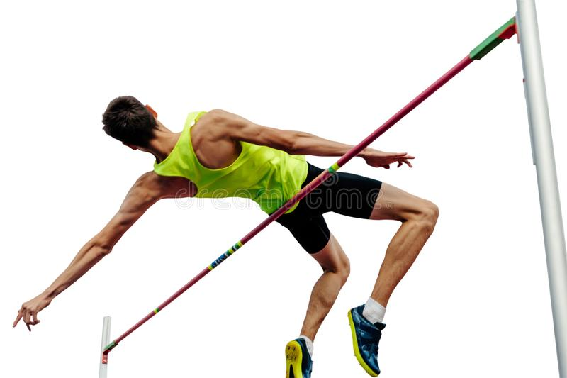 High jump male athlete. Successful attempt isolated stock image