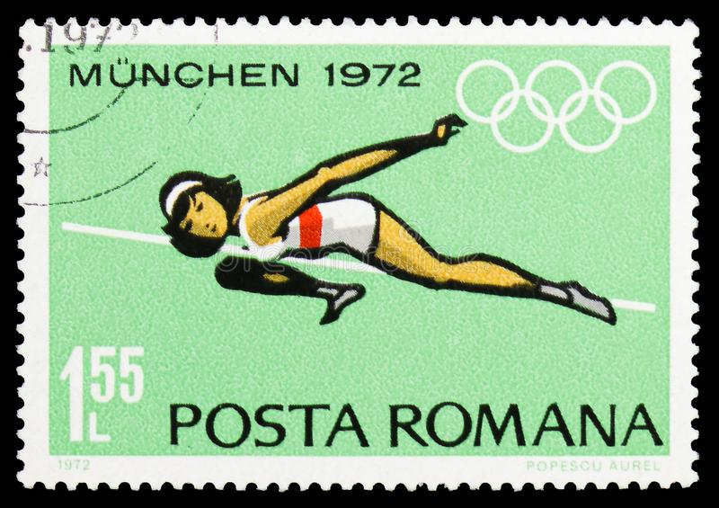 High jump, Summer Olympics 1972, Munich, serie, circa 1972. MOSCOW, RUSSIA - OCTOBER 6, 2018: A stamp printed in Romania shows High jump, Summer Olympics 1972 stock photos