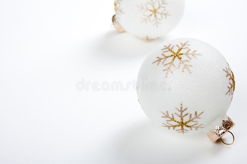 High Key Christmas Bulbs on White Background royalty free stock photography