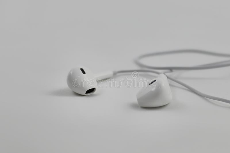 High key close-up image of earphone earbuds isolated on light gray background with copy space. Close-up high key photograph of ear buds with accessory cable stock image