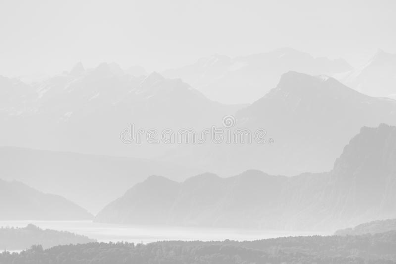 High-key Landscape of the alps with Lucerne in Switzerland. High-key Landscape of the alps with Lucerne in Central Switzerland royalty free stock photography