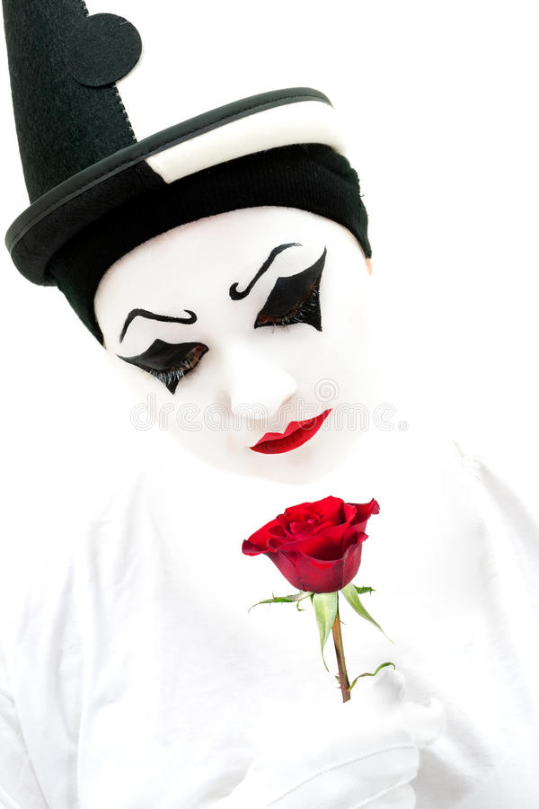 Download High key pierrot with rose stock photo. Image of romantic - 28232834