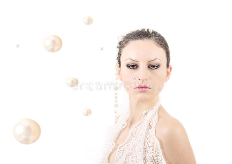 High key portrait with pearls. stock image