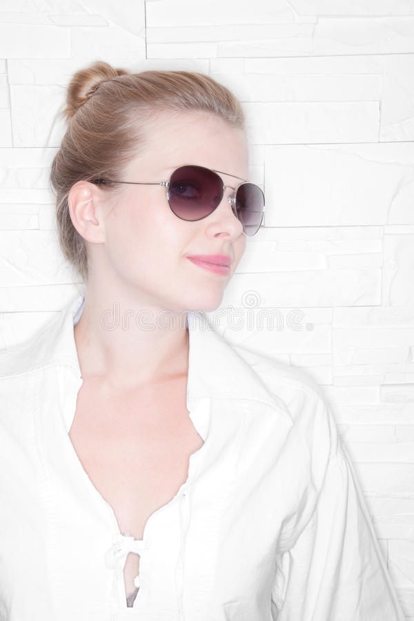 High Key Portrait of a stylish girl. With sunglasses stock photos