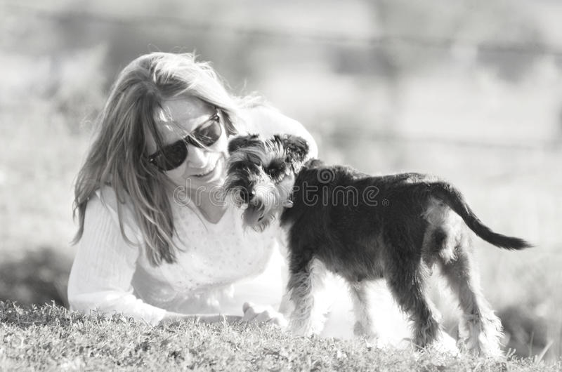 High-key soft dreamy love tenderness woman and pet puppy dog royalty free stock image