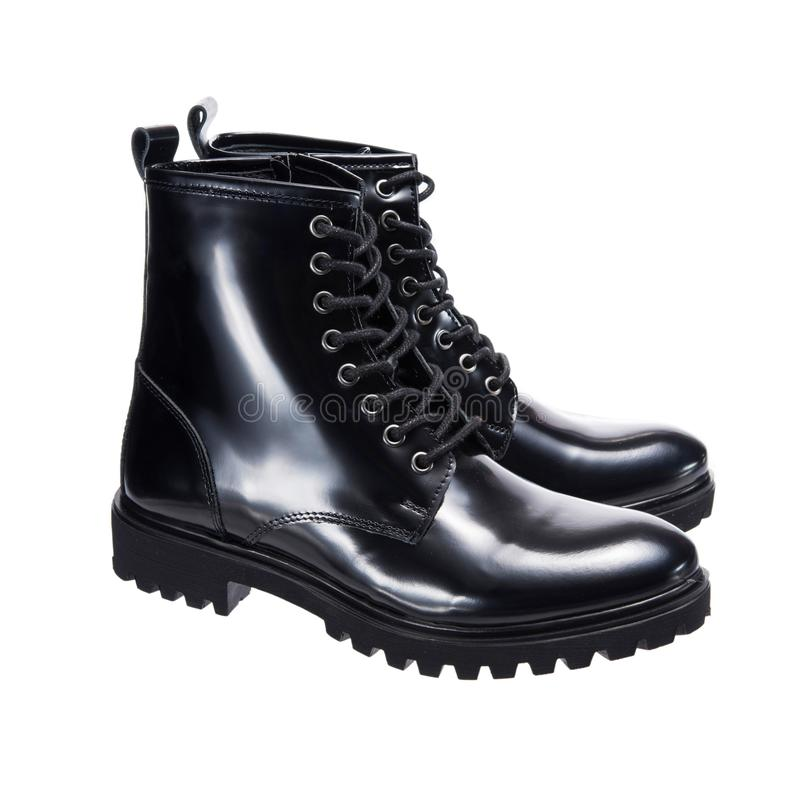 High leather men`s boots stock photography