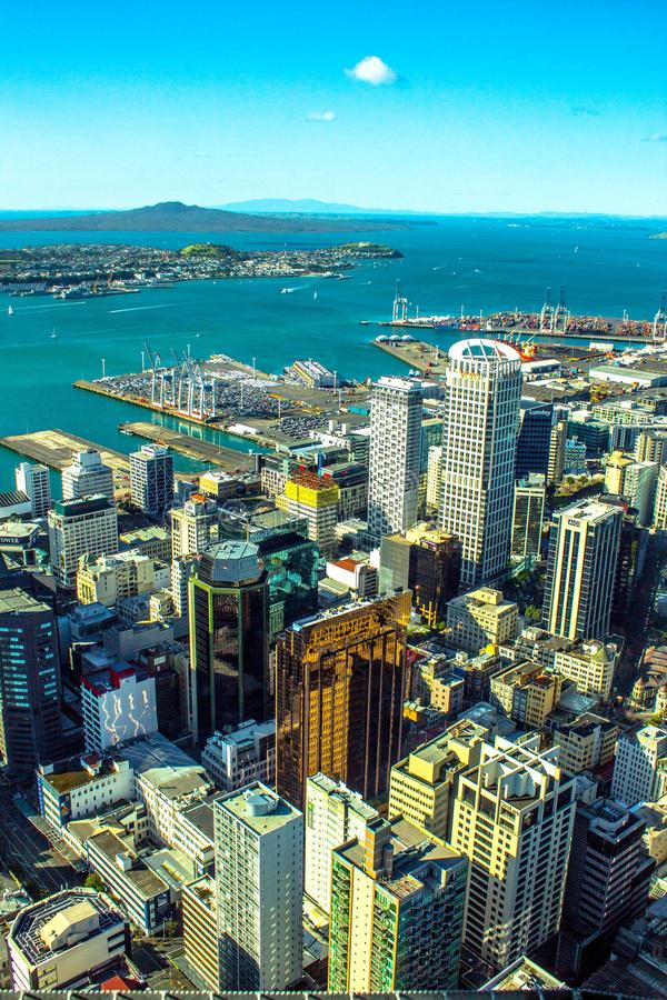The High Life. Auckland City New Zealand - View from the Sky Tower stock photography