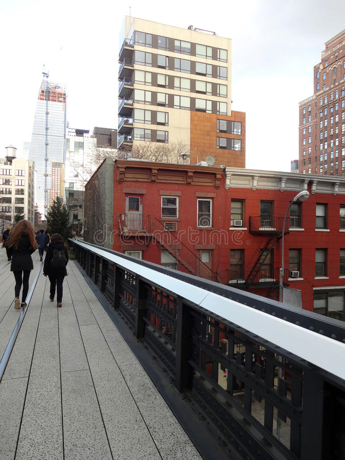 High Line Park in New York City. The elevated park in the Chelsea neighborhood of New York City was once abandoned train tracks royalty free stock image