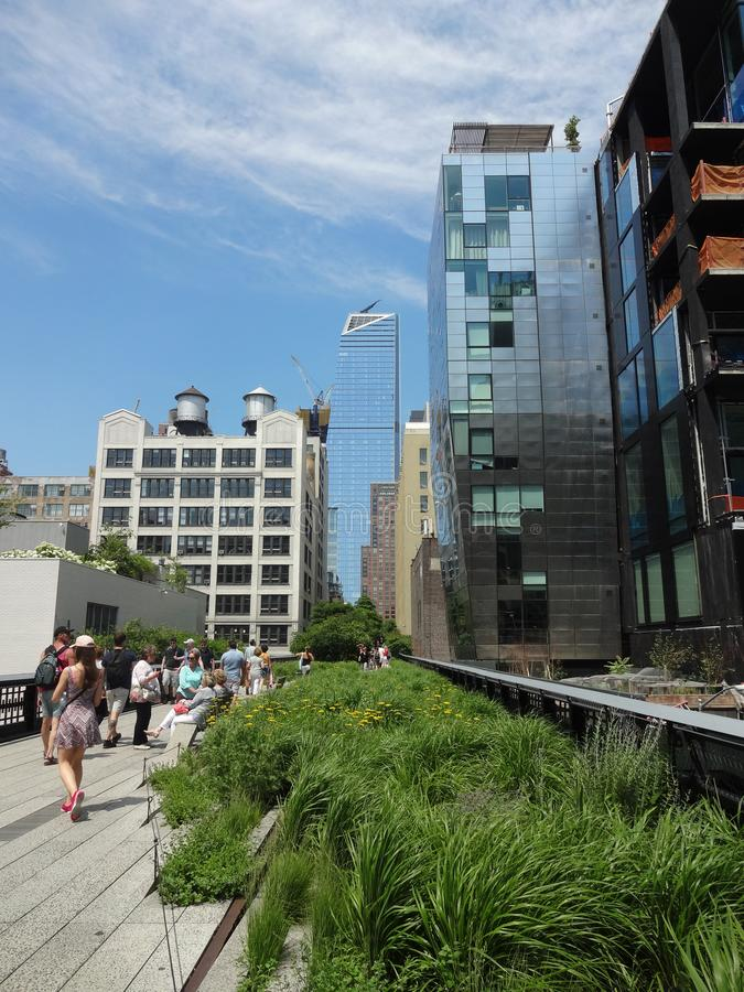 High Line Park in New York, New York. The Elevated High Line Park in New York City is transformed from an abandoned railroad track stock image