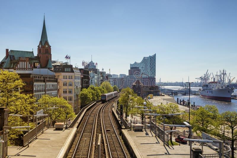 High line of subway at Hamburg stock photos