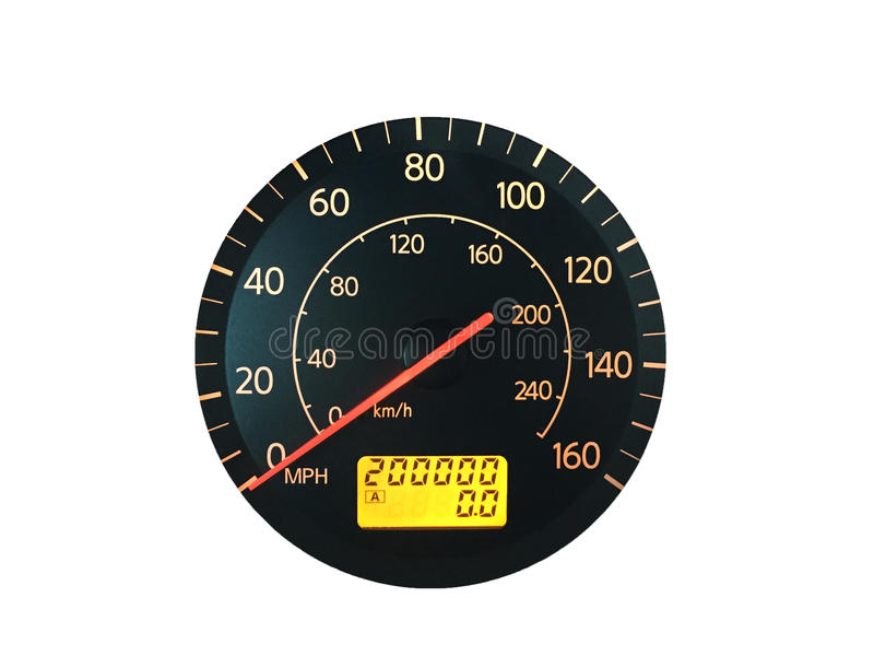 High Mileage Odometer Isolated on White. Photograph of a car speedometer with exactly 200,000 miles on the odometer. Isolated on white. Concepts could include royalty free stock photo