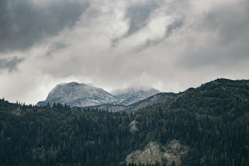 High mountain at cloudy daytime. Beautiful nature landscape. High mountain at cloudy daytime royalty free stock photo