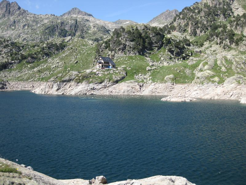 High mountain lake of intense blue color royalty free stock photography