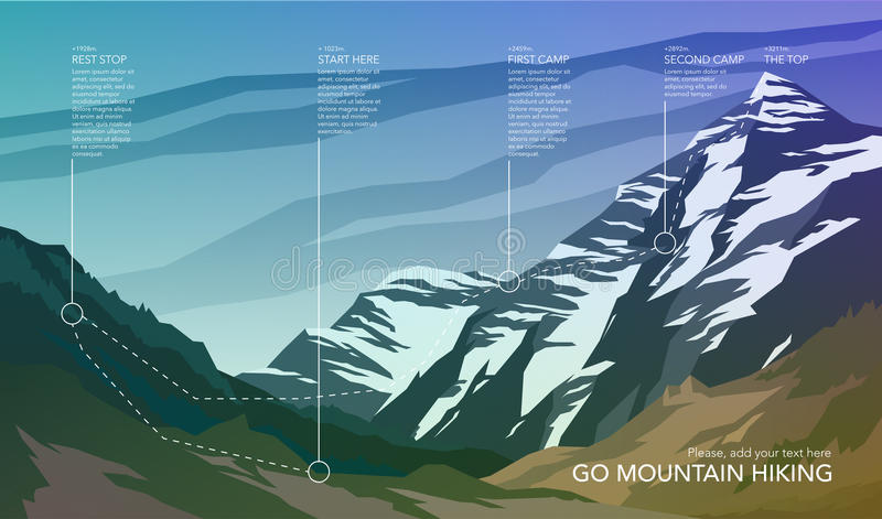 High mountain landscape infographic. stock images