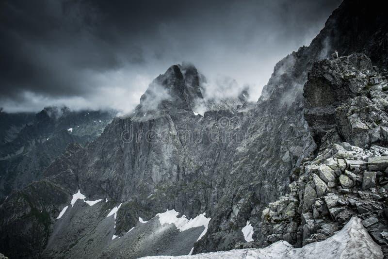 High mountain peak. Dark clouds over high mountain peak stock photos
