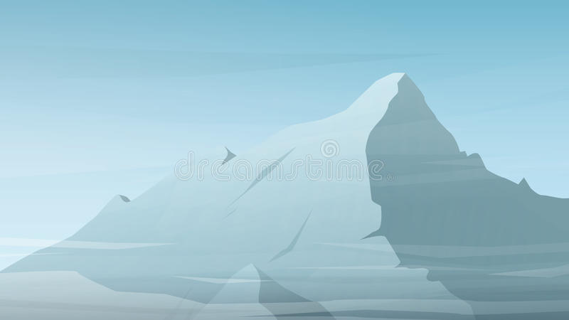 High mountain peak vector illustration. Winter. Range silhouette with clouds. Outdoor sports wallpaper or website landing page background. Eps10 vector stock illustration
