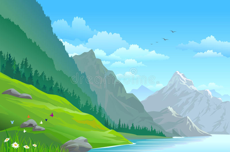 Download High Mountain And River Scenic Landscape Stock Illustration - Illustration: 24118359