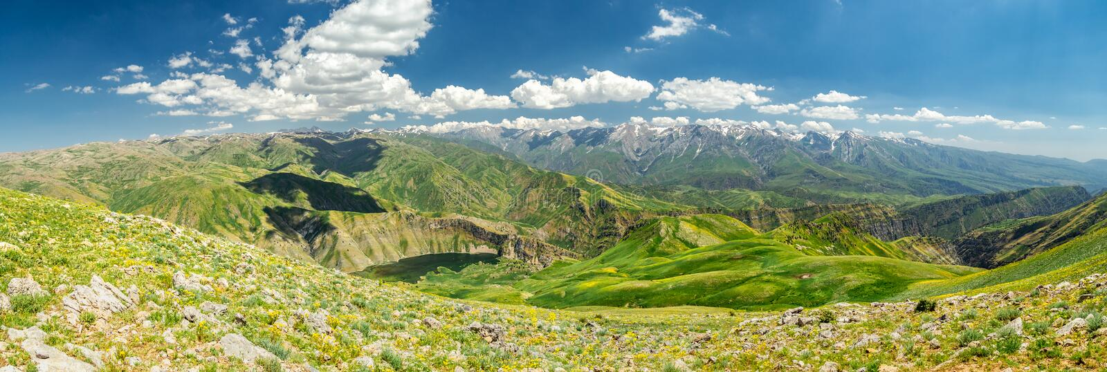 High mountain valley with lake peaks top view.  stock images