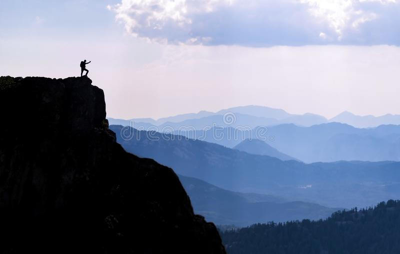 High mountains, cliffs and discovery success. High mountains, summit success and target adventure royalty free stock image