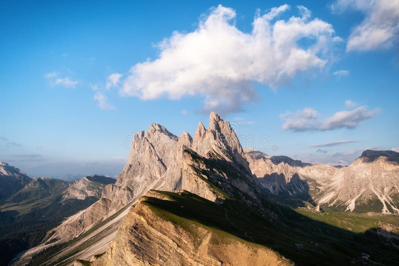 High mountains in the Dolomite alps, Italy. Beautiful natural landscape at the summer time. stock photos