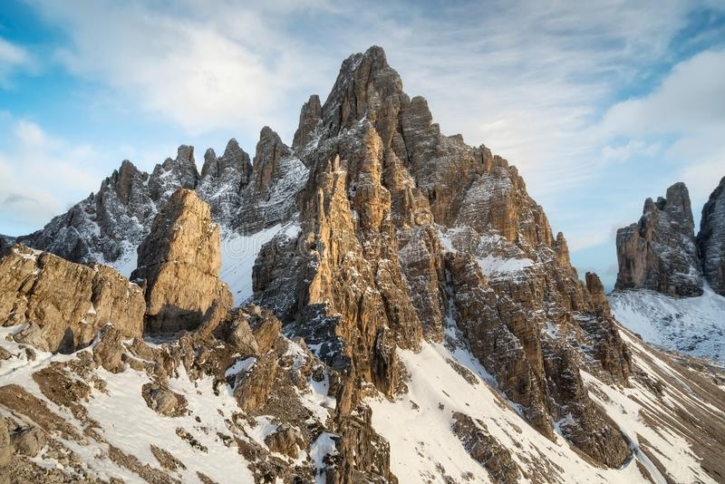 High mountains ridge in the Italy alps. Beautiful natural landscape in the winter time stock photos