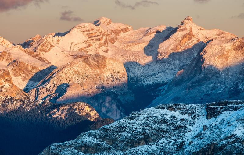 High mountains ridge in the Italy alps. Beautiful natural landscape in the winter time stock image
