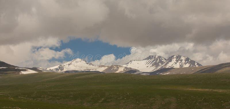 High mountains with snow. Snowy mountains Armenian Mountains stock photo