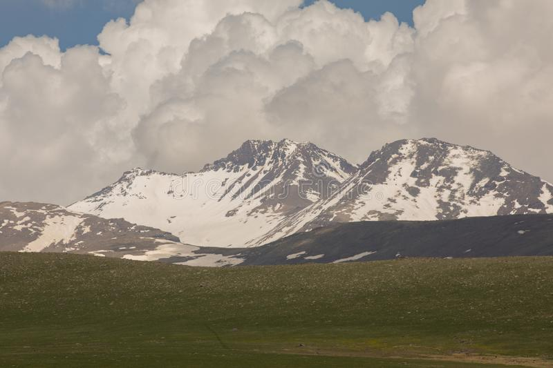 High mountains with snow. Snowy mountains Armenian Mountains stock photography
