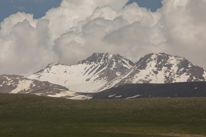 High mountains with snow. NSnowy mountainsn stock photography