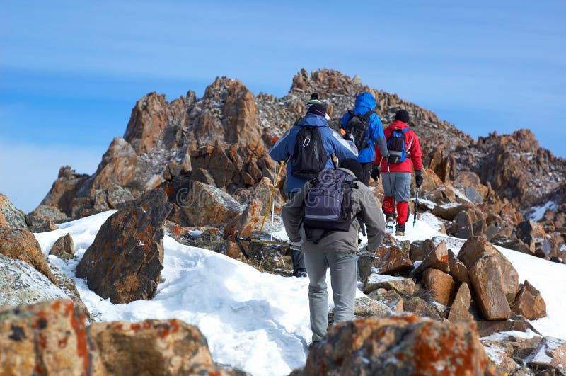 High Mountains Treking Group Royalty Free Stock Photo