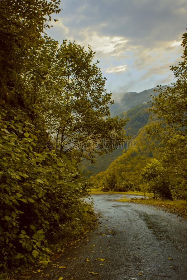 High mountains, villages and plateaus in autumn stock photography