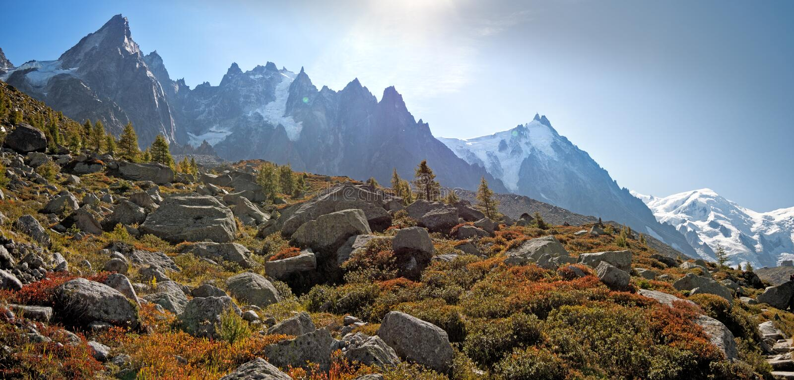 The high peaks of the chamonix valley and Mont Blanc Massif in the village of Chamonix in France. royalty free stock image