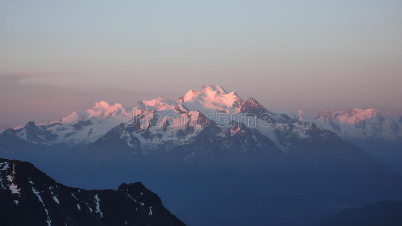High peaks of the Mischabel mountains in the Swiss Alps stock image