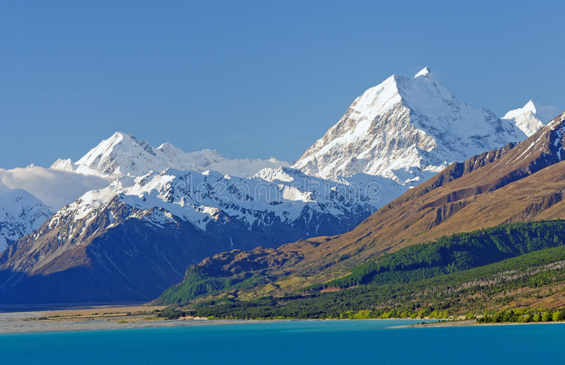 High Peaks in the Southern Alps. Mt Cook (Aoraki) in the Southern Alps of New Zealand royalty free stock photography