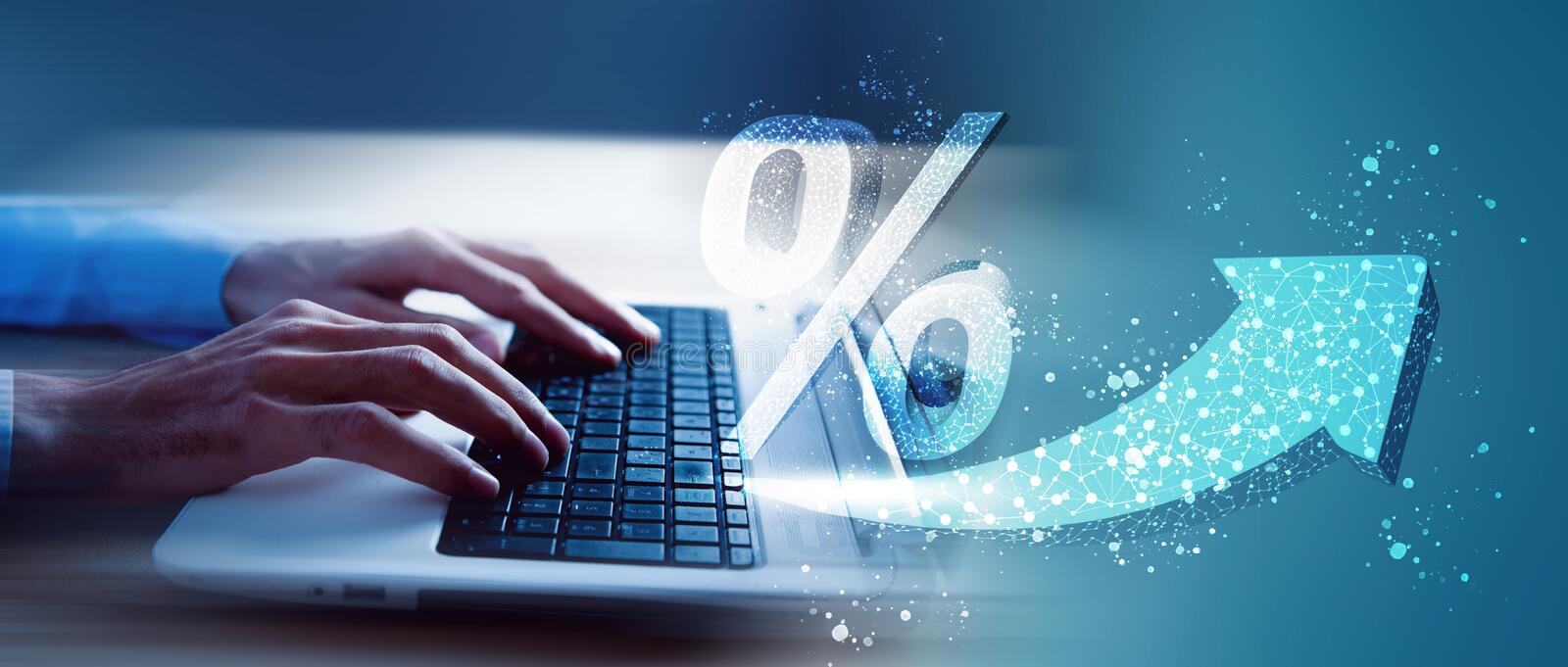 High percent interest. Percent up icon royalty free stock images