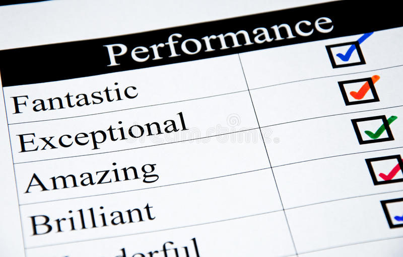 High Performance Checklist stock photography