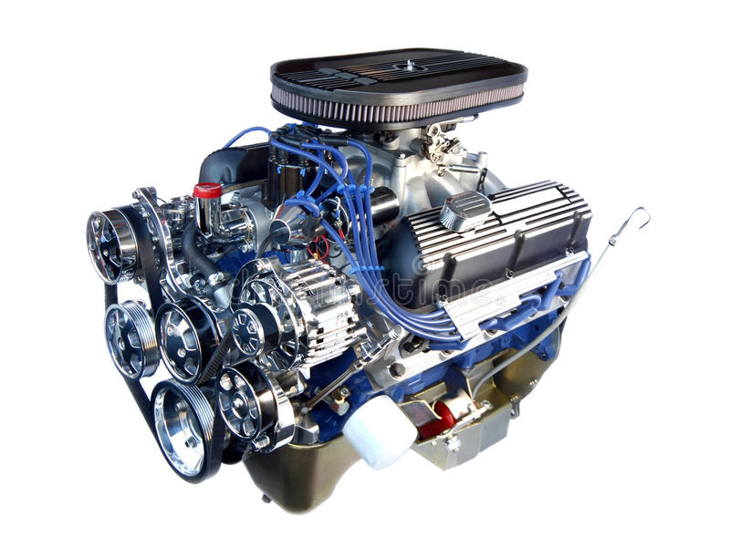 High Performance Chrome V8 Engine Isolated stock photography