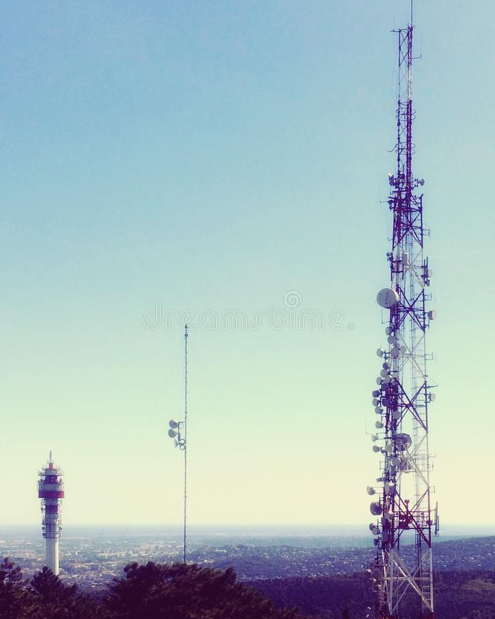 Cellular towers and sky view royalty free stock image