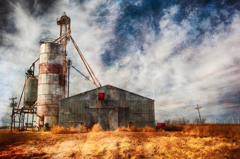 High Plains Granary. Granary serving the farmers on the High Plains within the Panhandle of Texas located outside Amarillo, Texas royalty free stock images