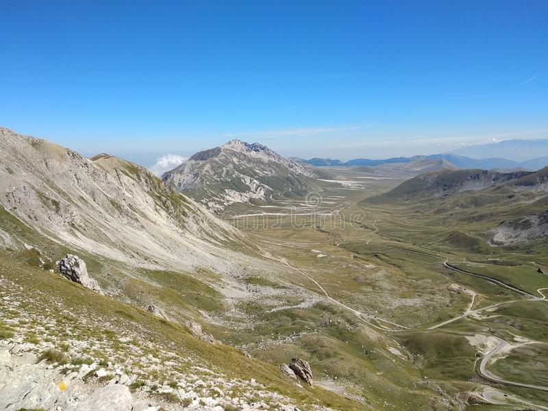The high plains. Seen fron the mountains of campo imperatore in Abruzzo royalty free stock images