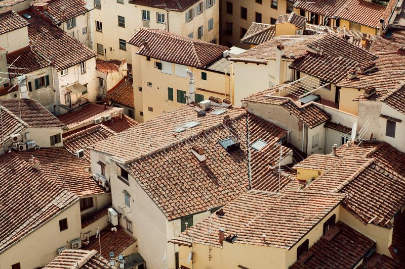 High point view on cityscape of historical Florence with tile roofs, Italy. Tuscany area with historical houses. High point view on cityscape of historical royalty free stock photo